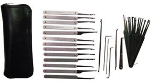 32 Piece Lock Pick Set w/ Zippered Leather Case