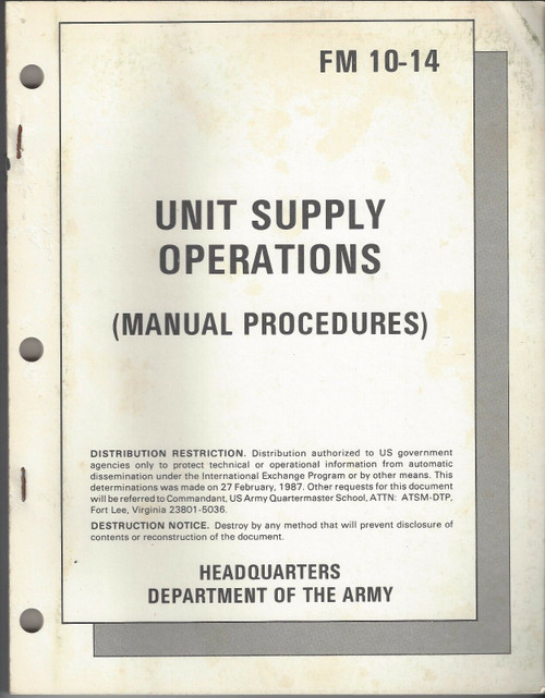 US Armed Forces Field Manual - Unit and Organization Supply (1973)