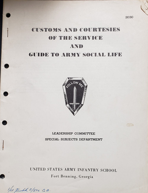 US Armed Forces Training Manual - Customs and Courtesies of the Service and Guide to Army Social Life