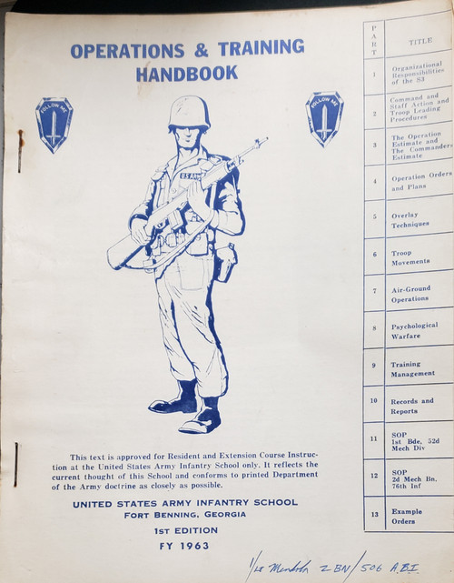 US Armed Forces Training Manual - Operations & Training Handbook (1963)