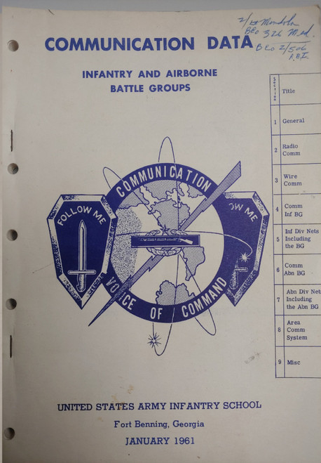 US Armed Forces Training Manual - Communication Data, Infantry and Airborne Battle Groups (1961)