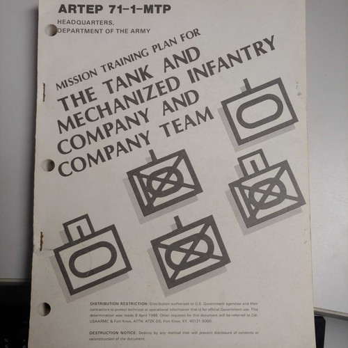 US Armed Forces Training Plan - The Tank and Mechanized Infantry Company and Company Team