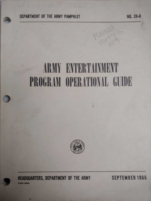 US Armed Forces Field Manual - Army Entertainment Program Operational Guide