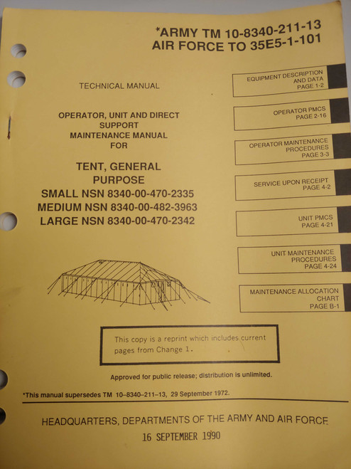 US Armed Forces Technical Manual - Tent, General Purpose