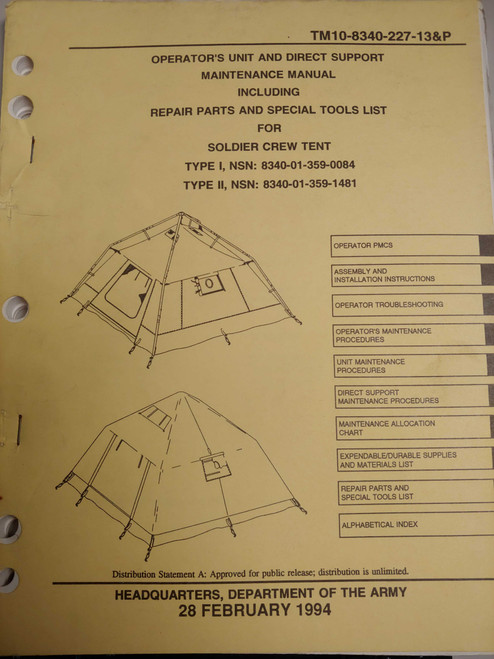 US Armed Forces Maintenance Manual - Soldier Crew Tent