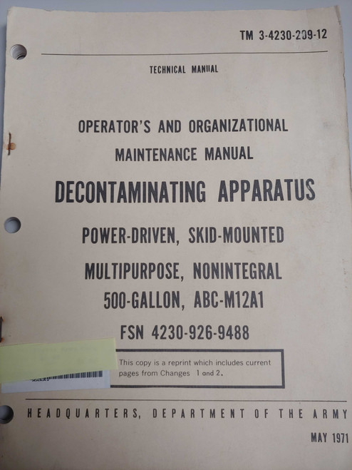US Armed Forces Maintenance Manual - Decontaminating Apparatus