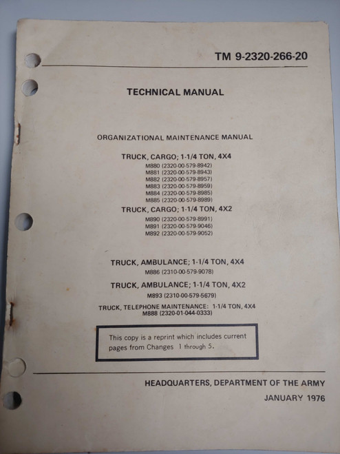 US Armed Forces Technical Manual - Organizational Maintenance Manual