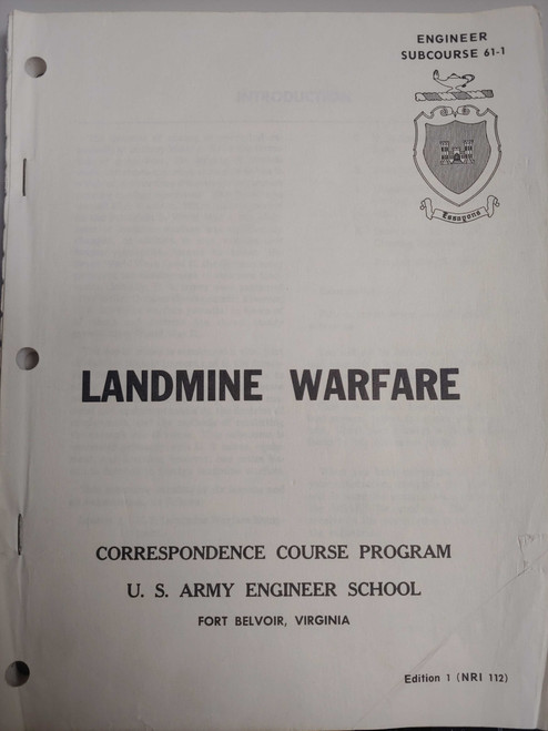 US Armed Forces Correspondence Course Program - Landmine Warfare