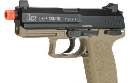 H&K Full Metal USP Compact Tactical Gas Blowback Airsoft Pistol by Umarex / KWA - Flat Dark Earth