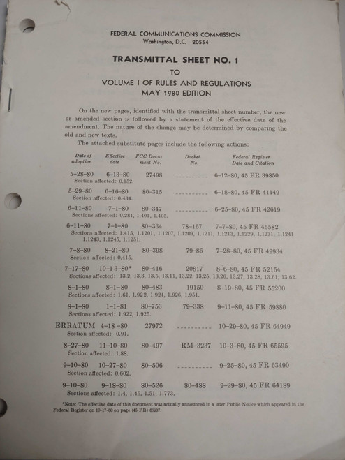 US Armed Forces Manual - Transmittal Sheet No. 1 (1980)