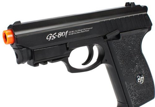Panther P-801 Full Metal Airsoft CO2 Gas Blowback High Power Hand Gun w/ Integrated Laser by Win Gun