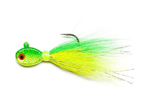 Mustad Saltwater Tamer Bucktail Jig (Color: Chartreuse & Lime)