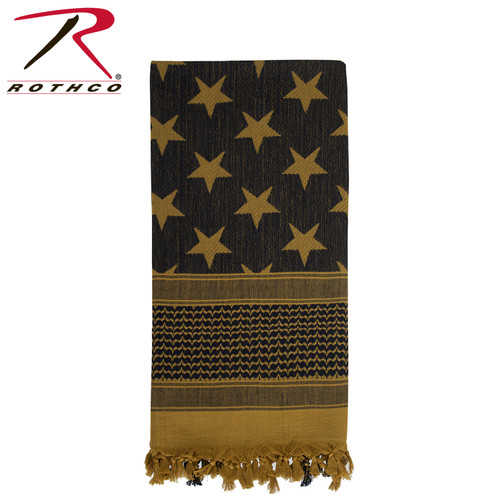 Stars & Stripes US Flag Shemagh Tactical Desert Keffiyeh Scarf - Coyote Brown