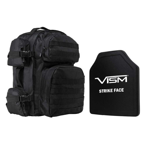 "VISM Tactical Backpack w/10""x12"" Level III+ STR's Cut PE Hard Ballistic Plate"