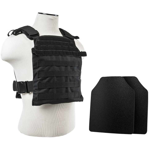 "VISM Fast Plate Carrier w/UHMWPE Curved 10""X12' Level IIIA STR's Cut 2X Hard Ballistic Plates [Small-2XL]"