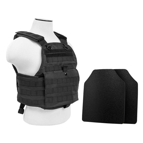 "VISM 2924 Plate Carrier w/UHMWPE 10""X12' Level IIIA STR's Cut 2X Hard Ballistic Panels [Med-2XL]"