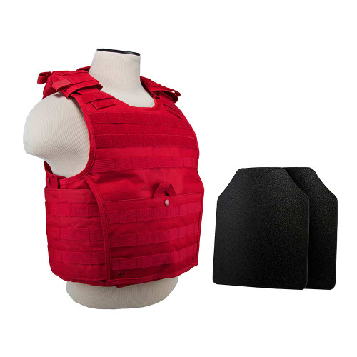 """VISM Expert Plate Carrier Vest (Med-2xl) With 10""""X12' Level IIIA Shooters Cut 2x Hard Ballistic Panels - Red"""
