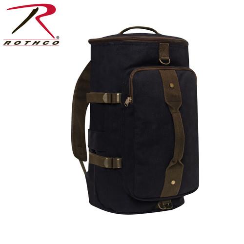 "Rothco Convertible 19"" Canvas Duffle/Backpack - Black/Brown"