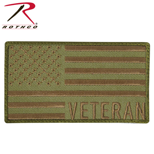 Veteran US Flag Patch - Coyote Brown