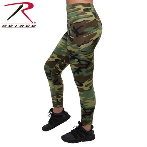 Womens Workout Performance Camo Leggings w/Pockets - Woodland Camo