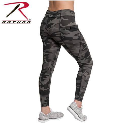 Womens Workout Performance Camo Leggings w/Pockets - Black Camo