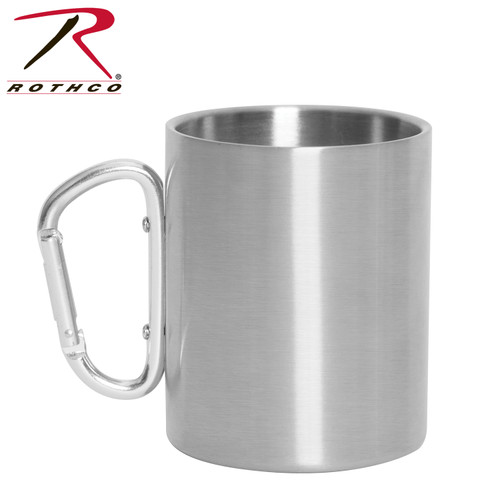 Insulated Stainless Steel Portable Camping Mug w/Carabiner Handle – 15 oz