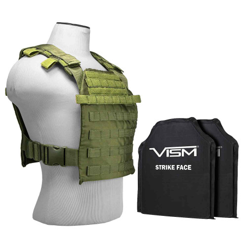 "VISM Fast Plate Carrier w/10""x12"" Level IIIA STR's Cut 2X SOFT Balllistic Panels - Green"