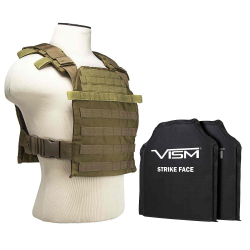 "VISM Fast Plate Carrier w/10""x12"" Level IIIA STR's Cut 2X SOFT Balllistic Panels - Tan"