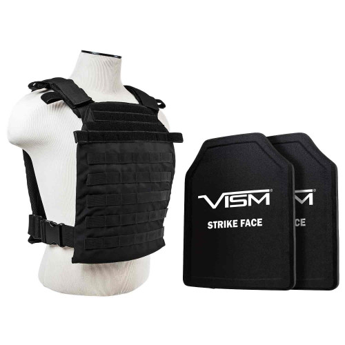 "VISM Fast Plate Carrier w/11""X14' Level III+ PE STR's Cut 2X Hard Balllistic Plates [XL-3XL]"