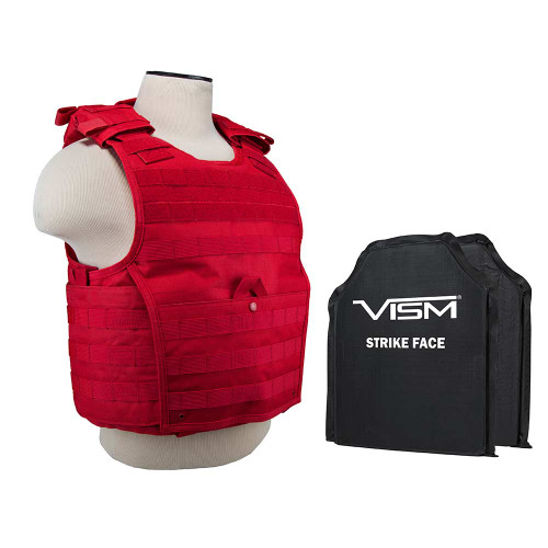 "VISM Expert Plate Carrier Vest (Med-2xl) With 10""X12' Level IIIA Shooters Cut 2x Soft Ballistic Panels/ MED-2XL/ Red"