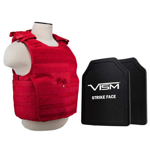 """VISM Expert Plate Carrier Vest With 11""""X14' Level III+ Shooters Cut 2x Hard Ballistic Plates/ Red"""