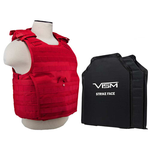 "VISM Expert Plate Carrier Vest With 11""X14' Level IIIA Shooters Cut 2x Soft Ballistic Panels/ Red"