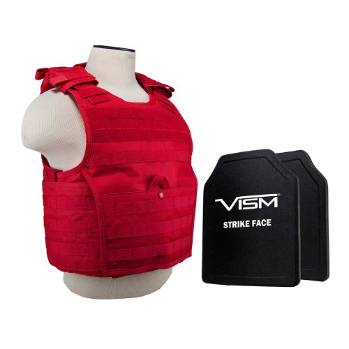 """VISM Expert Plate Carrier Vest (Med-2xl) With 10""""X12' Level III+ Pe Shooters Cut 2x Hard Ballistic Plates/ MED-2XL/ Red"""