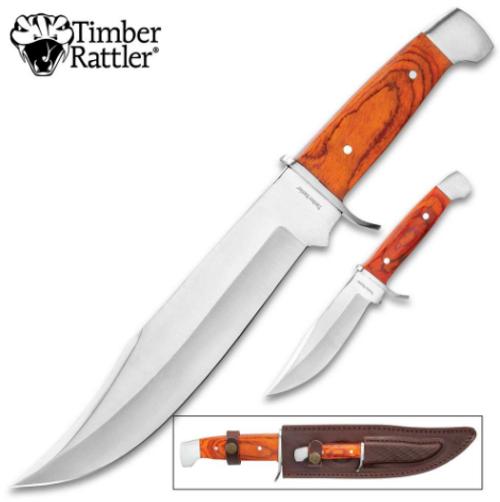 Timber Rattler 2-Piece Custom Bowie Knife Set
