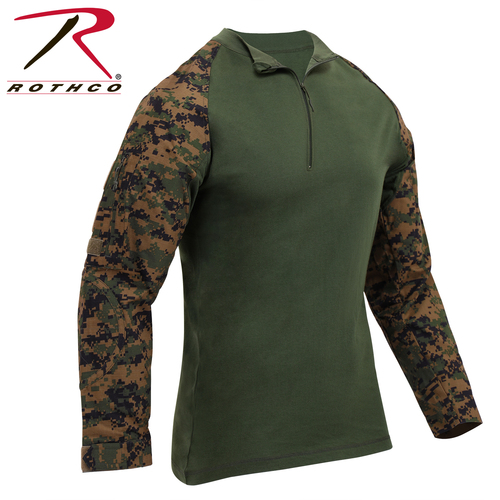 Rothco 1/4 Zip Tactical Airsoft Combat Shirt - Woodland Digital Camo