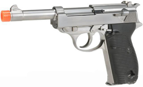 WE Full Metal Heavy Weight P38 Airsoft Gas Blow Back Pistol - Silver