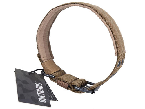 OneTigris Adjustable Military K9 Dog Collar (Color: Coyote Brown)