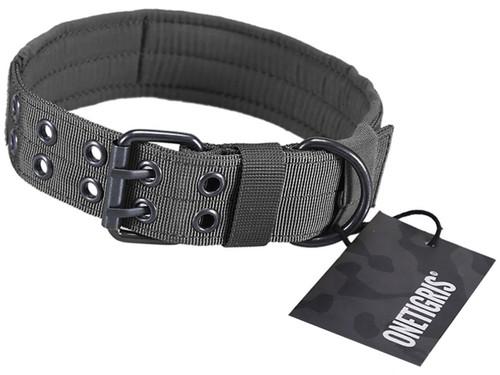 OneTigris Adjustable Military K9 Dog Collar (Color: Grey)