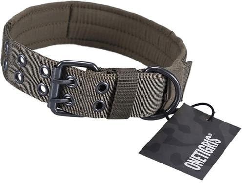 OneTigris Adjustable Military K9 Dog Collar (Color: Ranger Green)