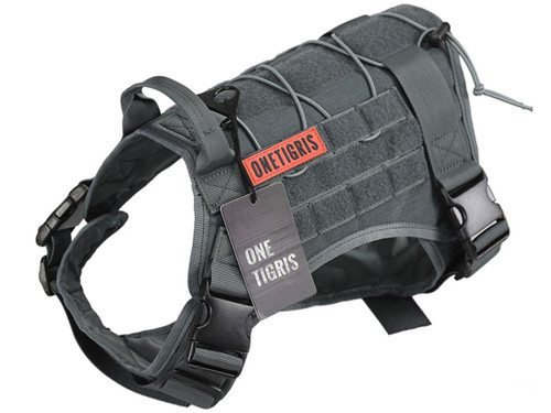 OneTigris Fire Watcher Dog Harness (Color: Grey)