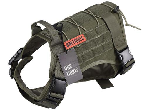 OneTigris Fire Watcher Dog Harness (Color: Ranger Green)