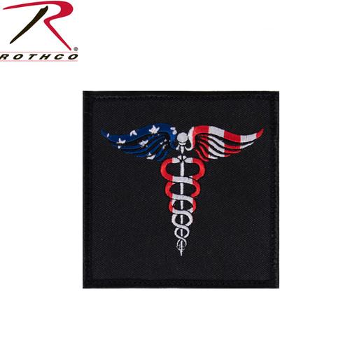 Rothco Caduceus Medical Symbol American Flag Patch w/Hook Back
