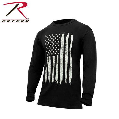 US Flag Long Sleeve T-Shirt - Black