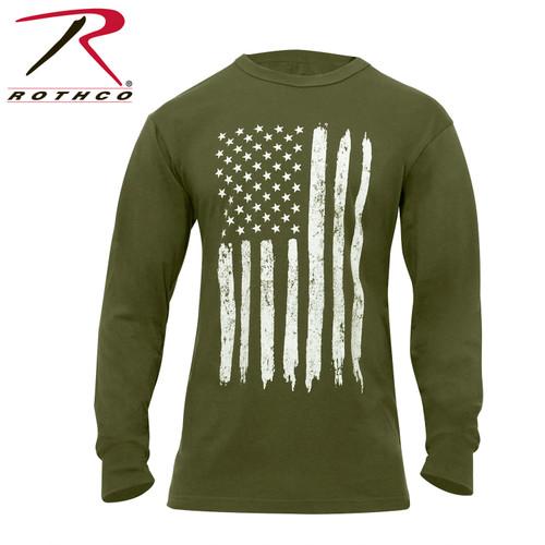 Rothco US Flag Long Sleeve T-Shirt - Olive Drab