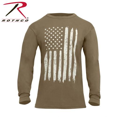 Rothco US Flag Long Sleeve T-Shirt - Coyote Brown