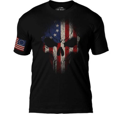 "7.62 Designs ""Skull Battlespace"" Premium Men's Patriotic T-Shirt (Size: Betsy Ross)"