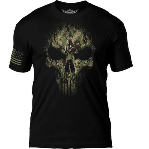 "7.62 Designs ""Skull Battlespace"" Premium Men's Patriotic T-Shirt (Size: Navy Camo Print)"