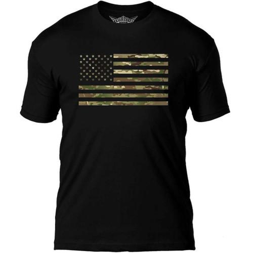"7.62 Designs ""Flag Battlespace"" Premium Men's Patriotic T-Shirt (Color: Camo Print)"