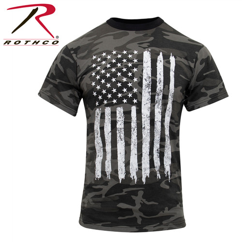 Rothco Camo US Flag T-Shirt - Black Camo