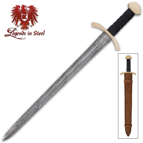 Black Knight Sword And Scabbard - Damascus Steel Blade